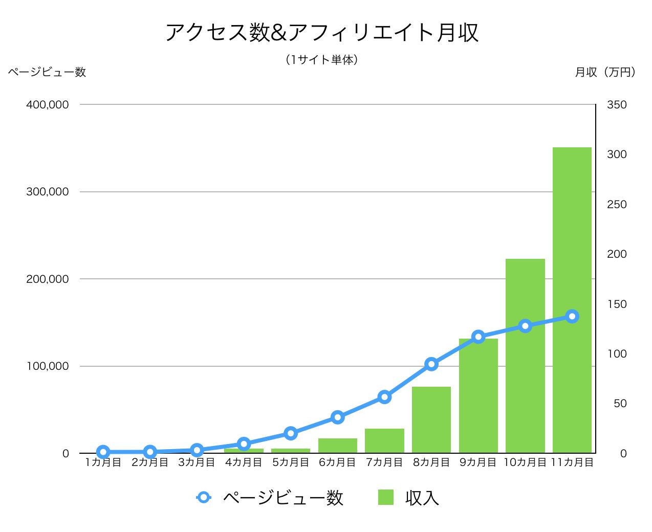 サイト開設直後から11カ月間のアクセス数&収益