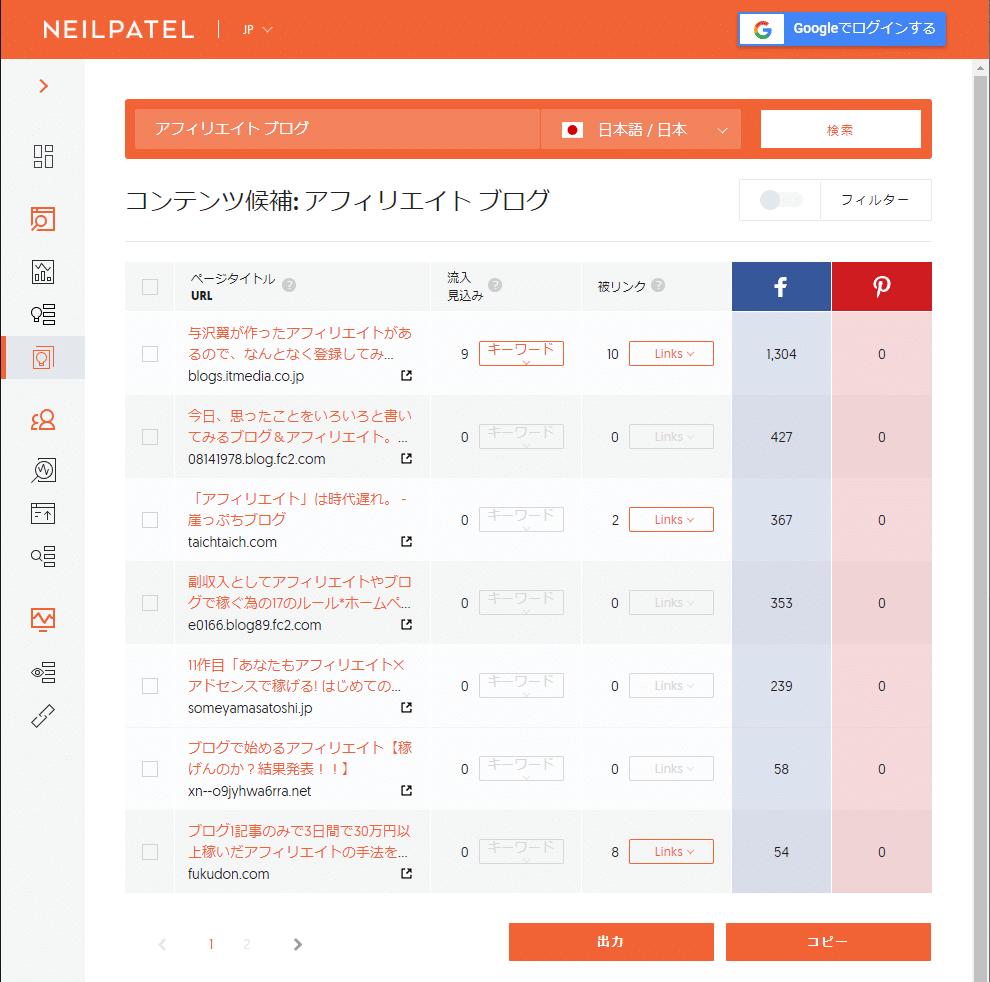 Ubersuggest コンテンツ候補画面